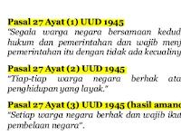 Penerapan Dan Pelaksanaan PASAL 27 AYAT 3 UUD 1945