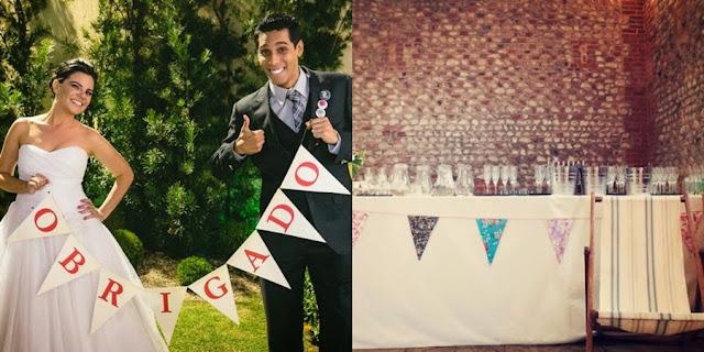 casamento com bandeirolas na decoração