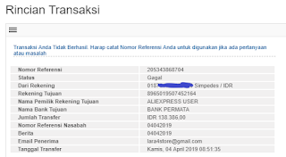Transfer Wire Tranfer BRI ke Aliexpress Gagal