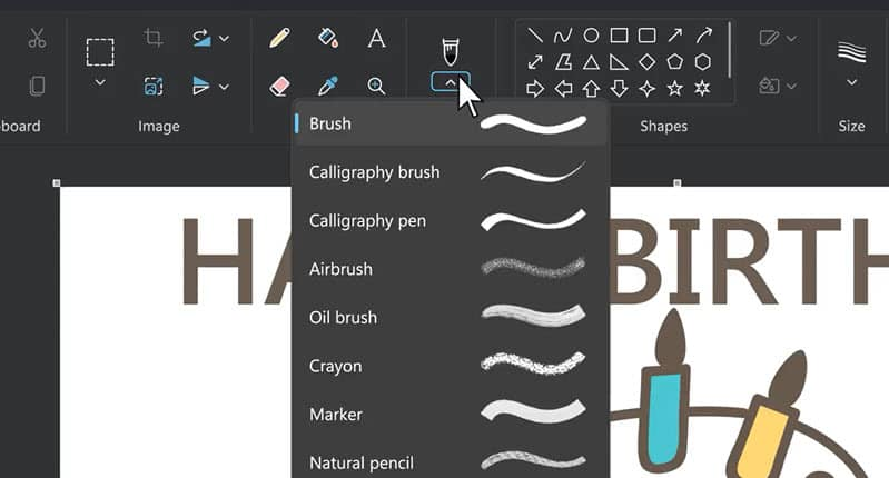 Microsoft Paint is also getting a new way to choose brush types