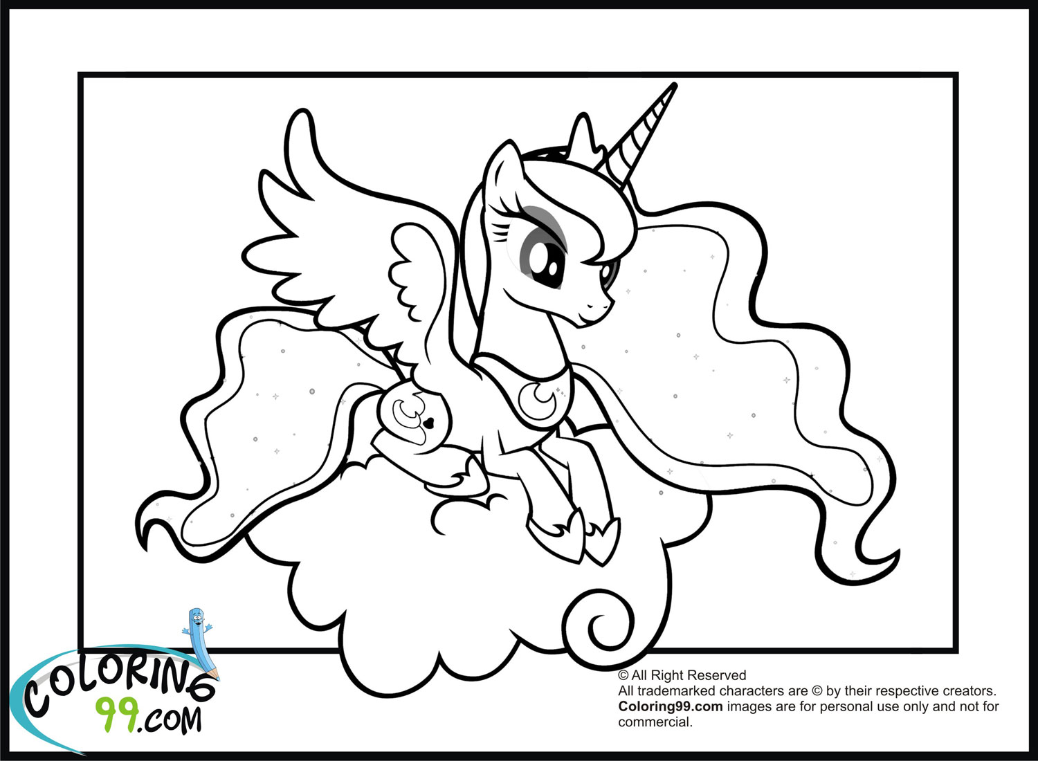 Pony Princess Celestia Luna Coloring Pages Photo 17 Mewarnai