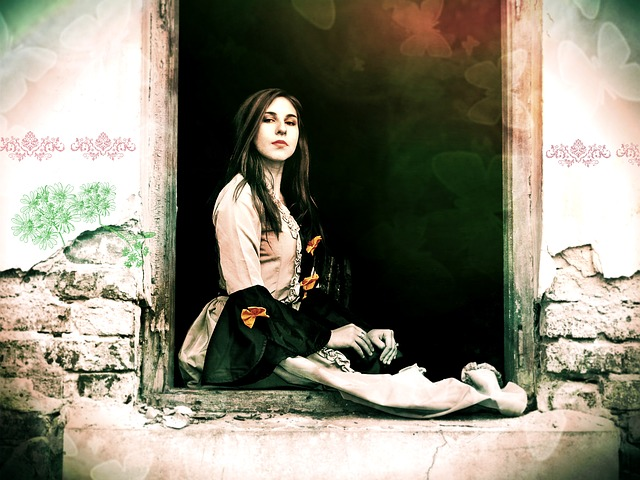 girl sitting in a window in the setting of a crumbling wall