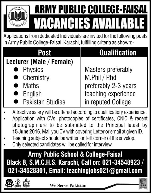 Lecturers Jobs in Pakistan Army Public College for Different Subjects
