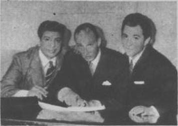 Héctor Várela con Argentino Ledesma y Rodolfo Lesica en 1955