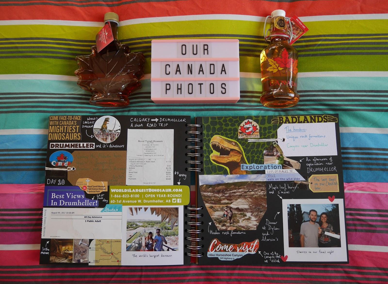 Canada travel scrapbook pages 13-14 (Drumheller) featuring Printiki's retro prints