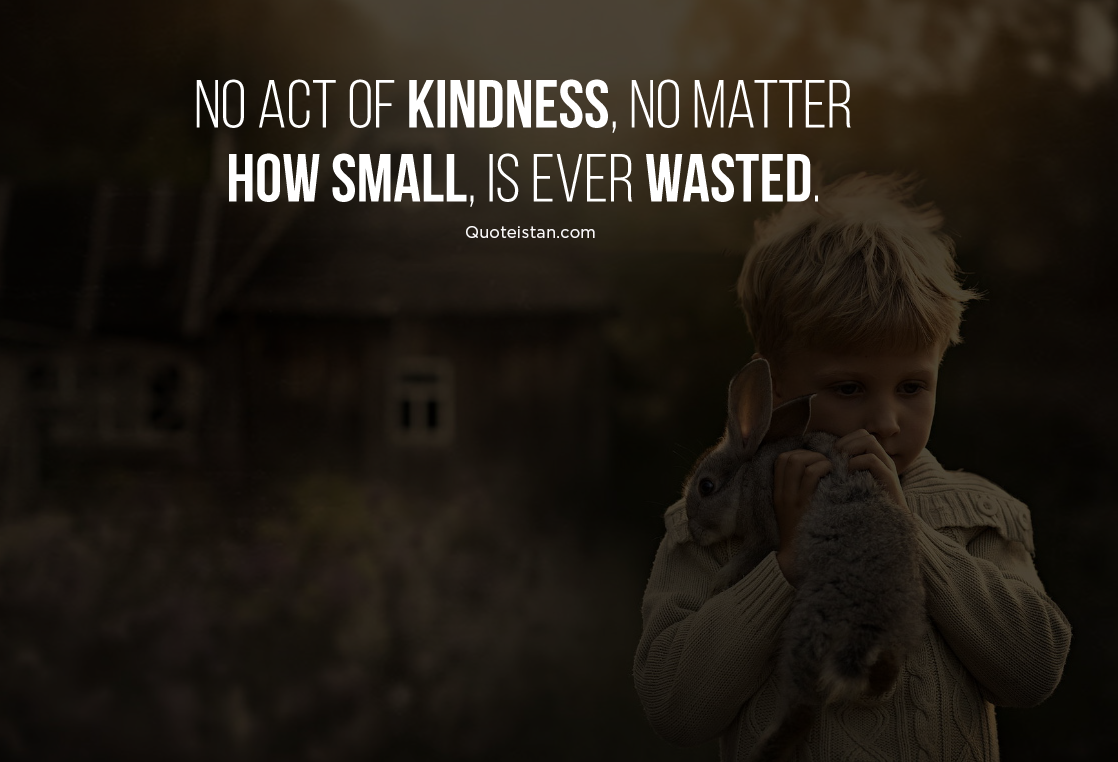 No act of kindness, no matter how small, is ever wasted. #quotes