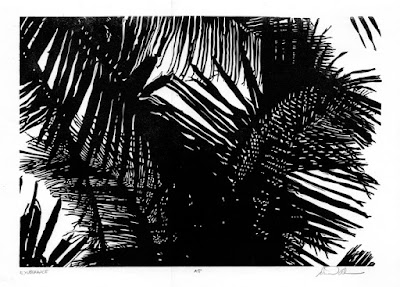 In GhanaDaniel fell in love with patterns of palm fronds and began a series of black and white prints inspired by those trees.