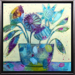 Foxtrot original mixed media framed floral painting by Pennsylvania artist Merrill Weber