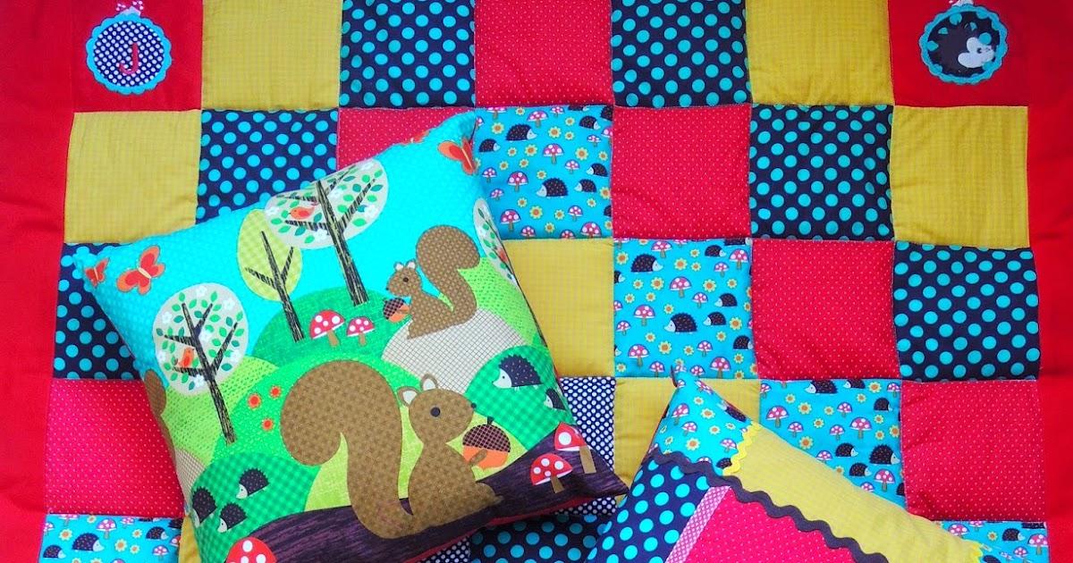 dinge patchwork babydecke fuer josef igel im wald