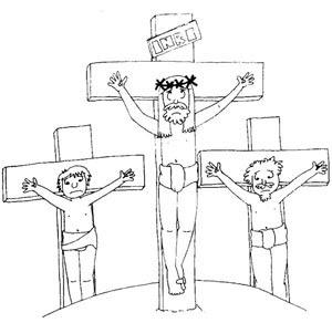 Jesucristo Sacrificado En La Cruz Para Colorear Y Pintar