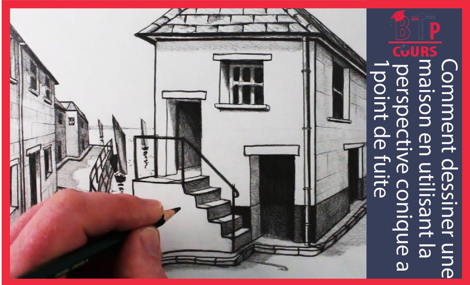 Cette vidéo vous apprend a dessiner une maison en utilisant la perspective conique a 1 point de fuite étape par étape