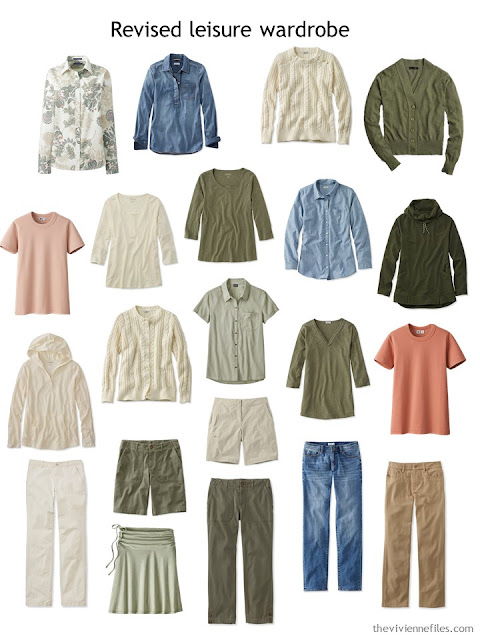 updated leisure wardrobe in olive and beige with denim and apricot