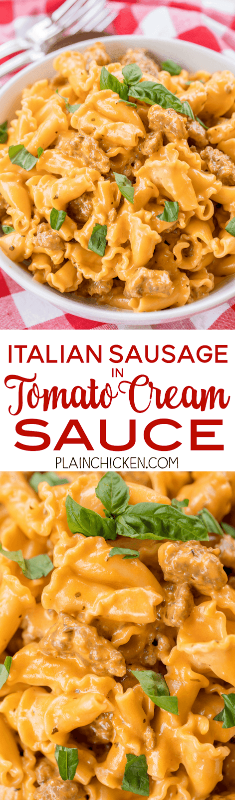 Italian Sausage in Tomato Cream Sauce - ready in 15 minutes! SO simple and tastes AMAZING! Better than any restaurant!! Pasta, Italian Sausage, heavy cream, onion, garlic, oregano, salt, pepper and tomato paste. Can add mushrooms and peppers - get creative! SO good!!!