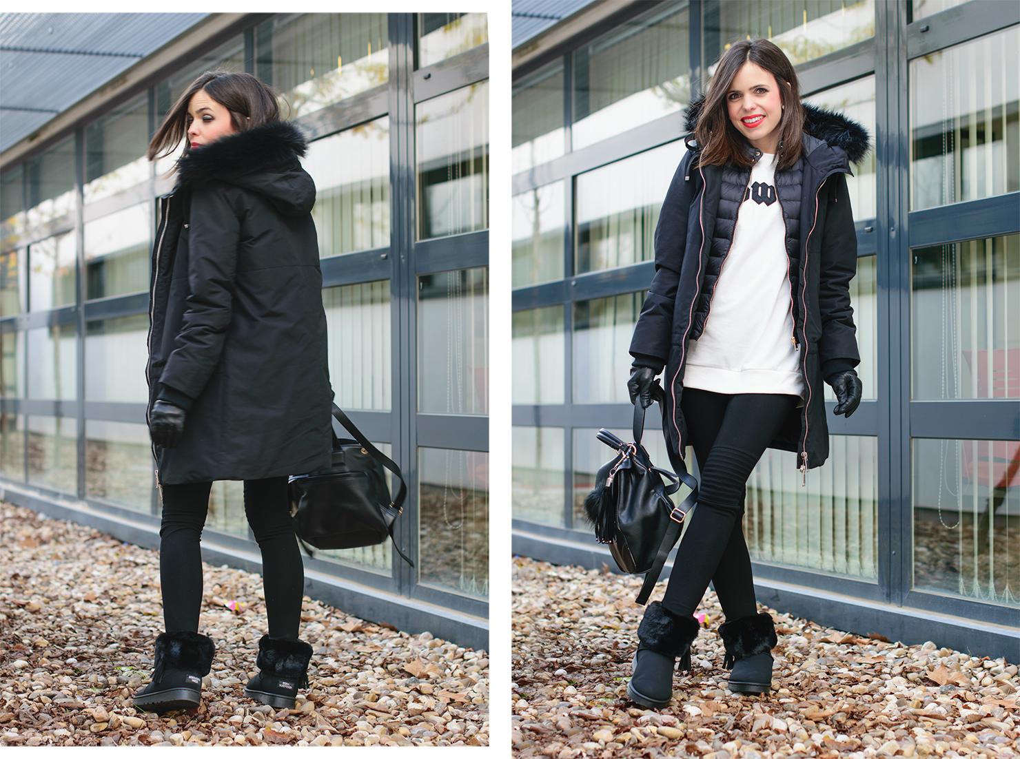 Look sporty en blanco y negro con comfy boots