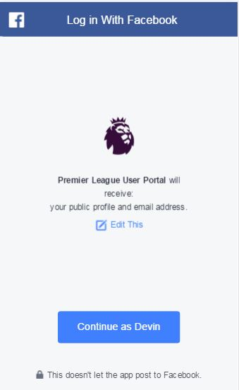 Facebook Login - Fantasy Premier League
