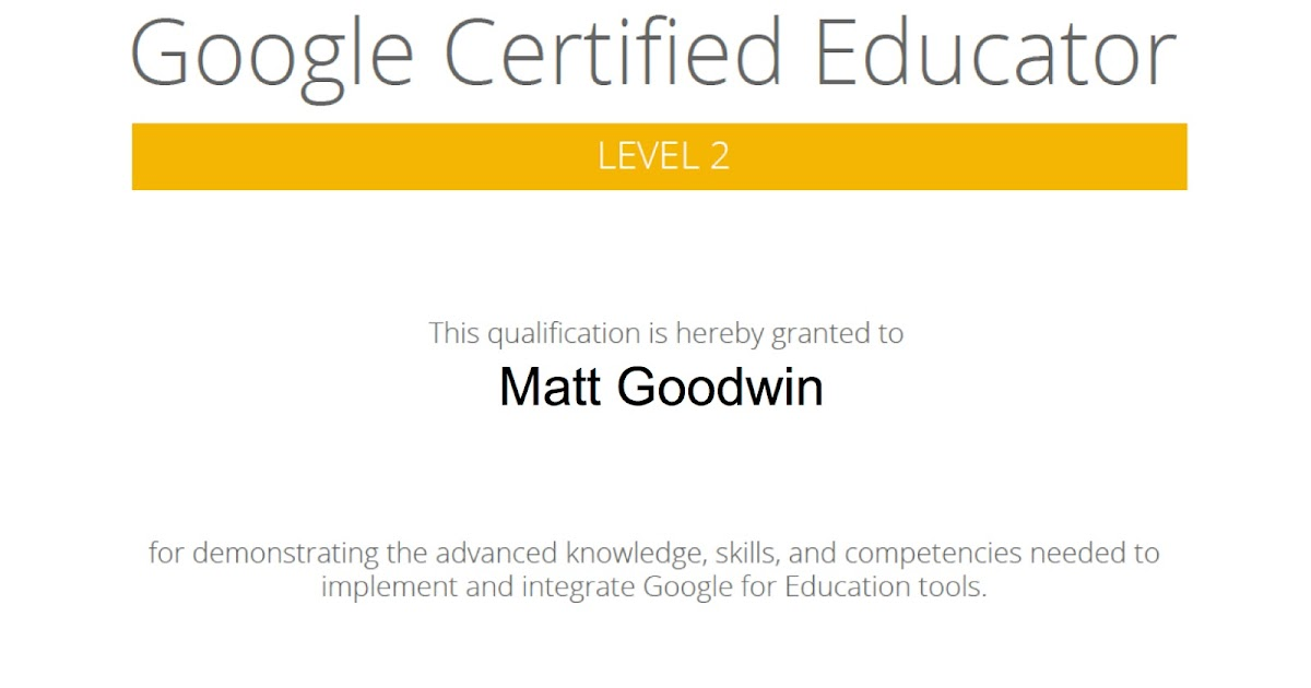 Goodwin Gold: Google Certified Educator Level 2 exam