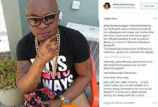Afia Schwar mocks Diamond over Bukom Banku's bleaching