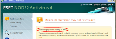 ESET NOD32 Antivirus Protection Status Saying Operating System Not Up-to-Date