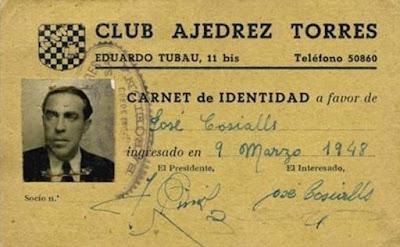 Carnet de socio del ajedrecista Josep Cosialls