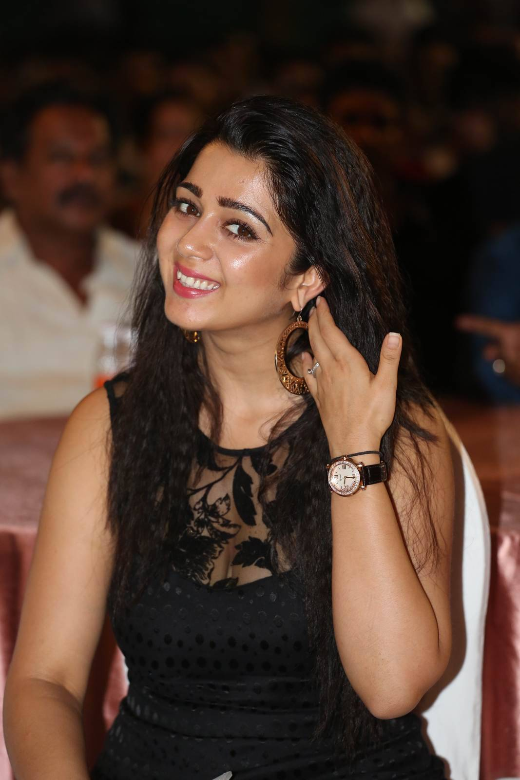 Charmi Photoshoot Stills, Charmee Kaur Pics Clicked in Black Dress at Event