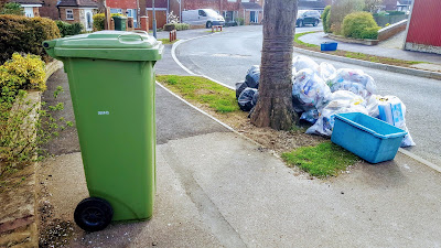 The Green Waste Bin, Recycling, General Rubbish and Glass Collection Box