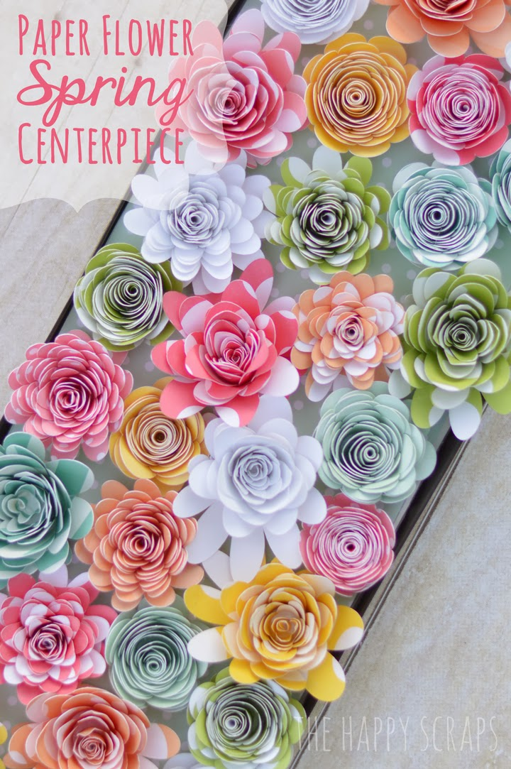 paper flower spring centerpiece from the happy scraps