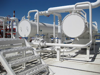 large shell and tube heat exchangers at industrial chemical plant