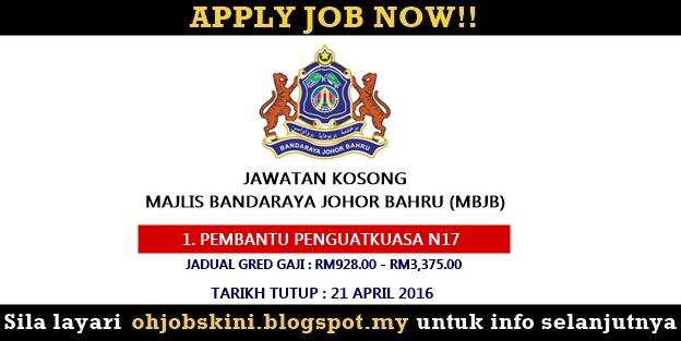 Jawatan Kosong Majlis Bandaraya Johor Bahru (MBJB)