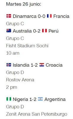 Partidos del Mundial Rusia 2018 Martes 26