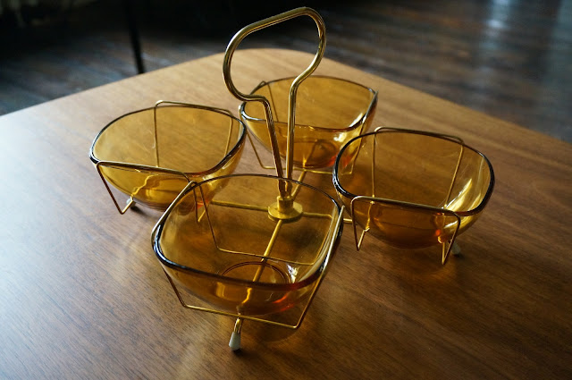 mid century snack set glass bowls , metal stand