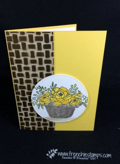 Basket Weave Folder, Blossoming Basket, Emboss and ink, Frenchiestamps, Stampin'Up!,