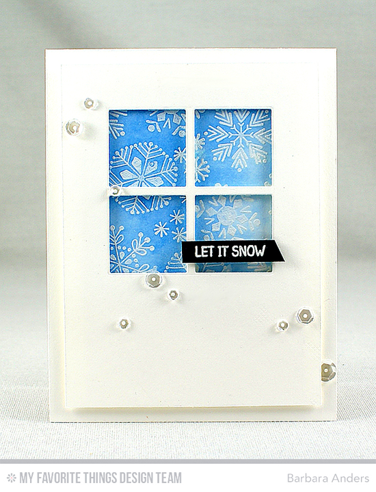 Handmade card from Barbara Anders featuring Snowflake Flurry and Winter Wonderland stamp sets and Window Die-namics #mftstamps