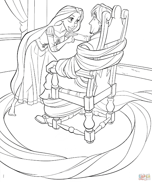 Click The Rapunzel Ties Up Flynn Coloring Pages