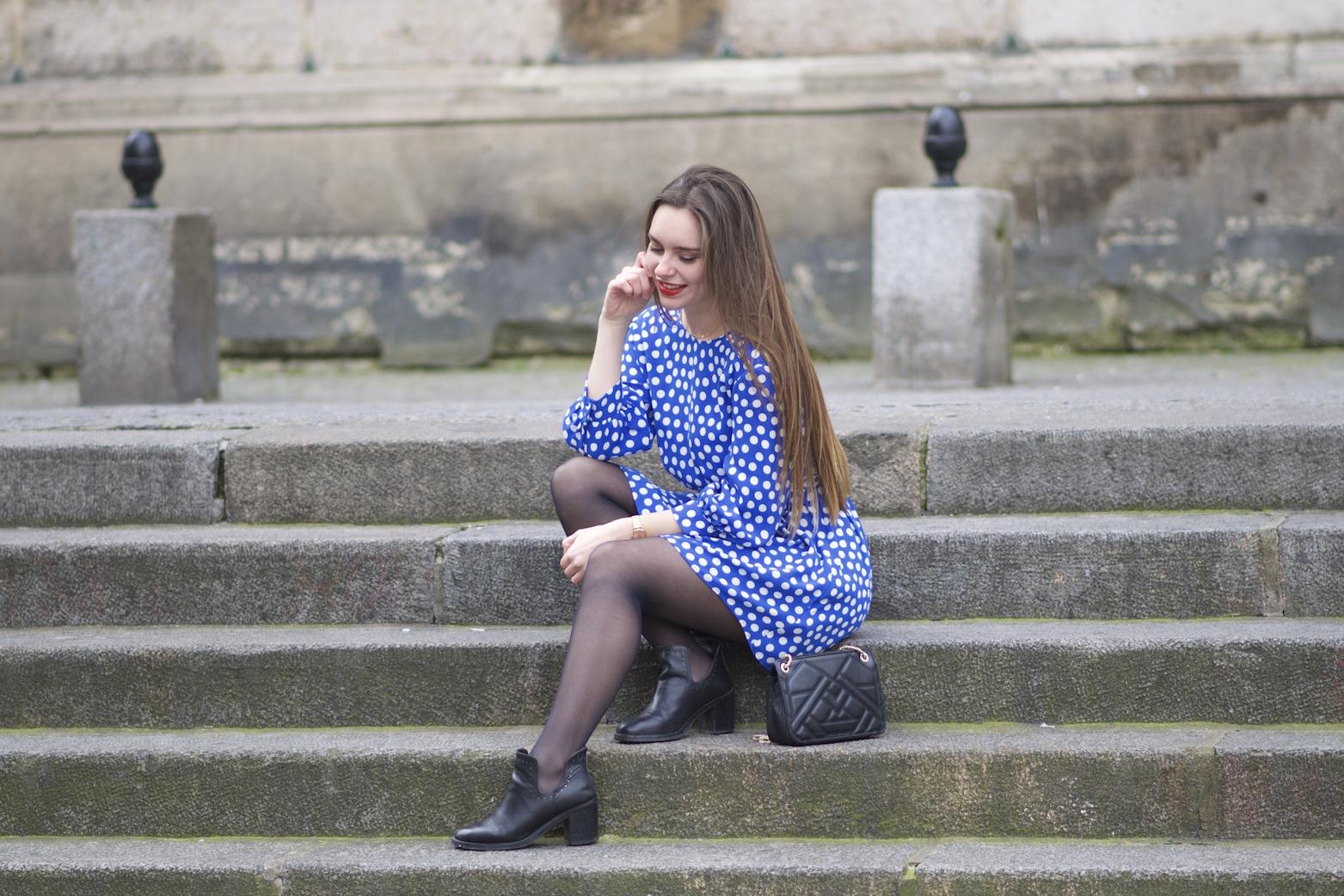 robe bleue à pois Zara 10