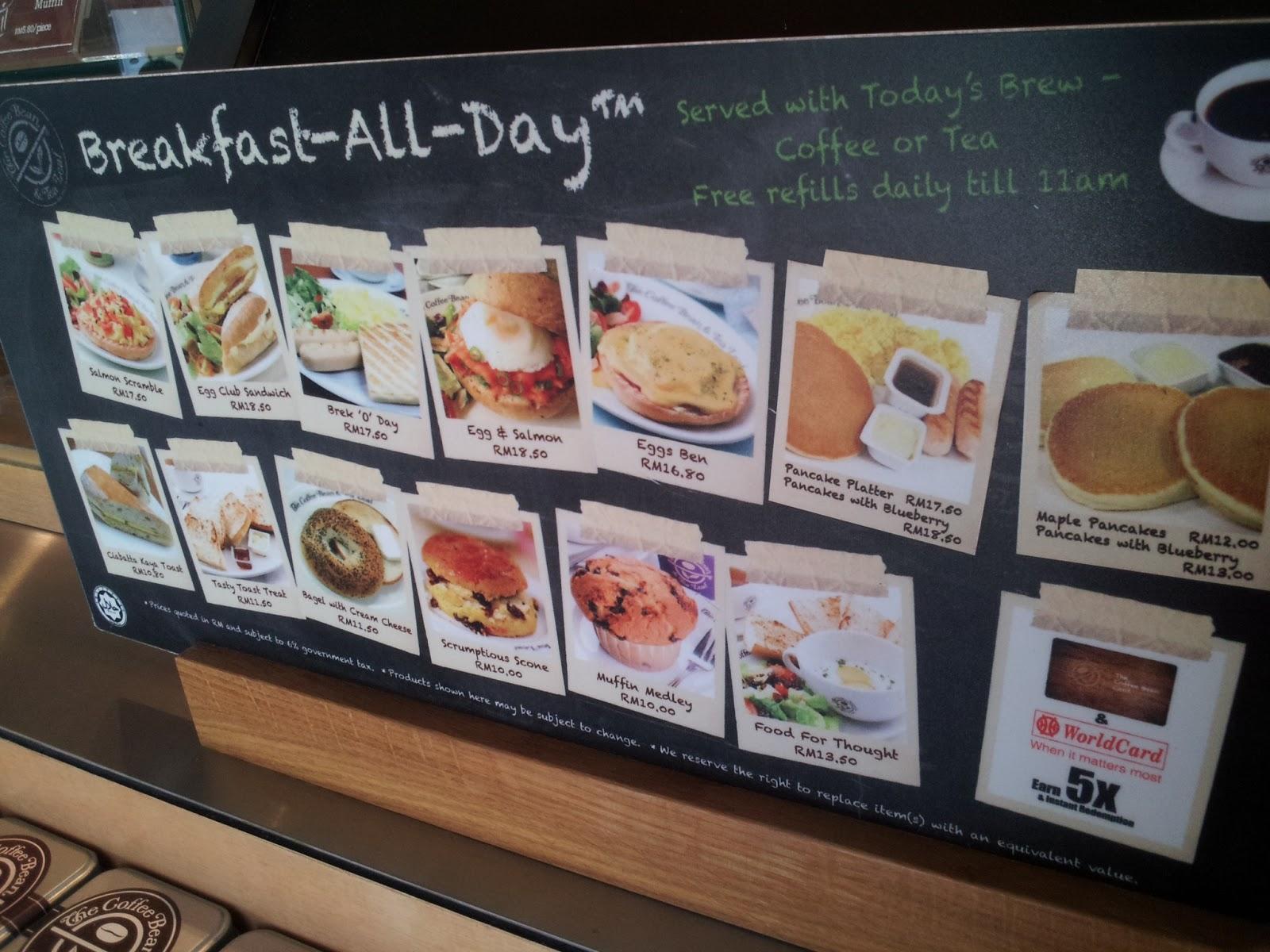 Coffee Bean Breakfast Menu Malaysia - The Coffee Table