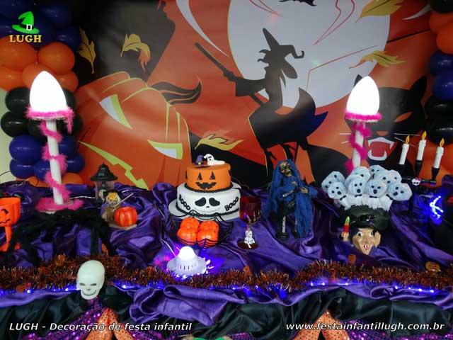 Decoração de festa Halloween - mesa decorada luxo para aniversário