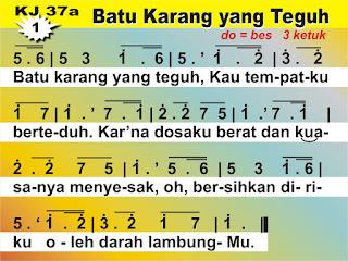 Kord Gitar Kidung Jemaat 37a - Batu Karang yang Teguh