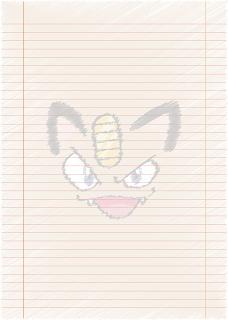 Papel Pautado da Meowth Pokemon rabiscado PDF para imprimir na folha A4