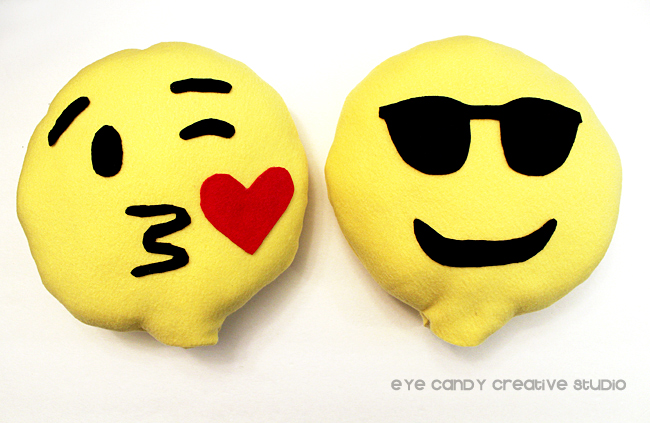 kissing face emoji pillow, shade emoji pillow, how to make emoji pillows