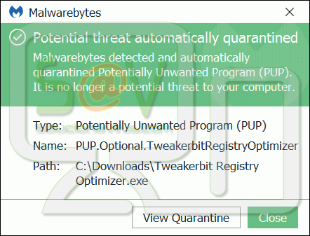 PUP.Optional.TweakerbitRegistryOptimizer