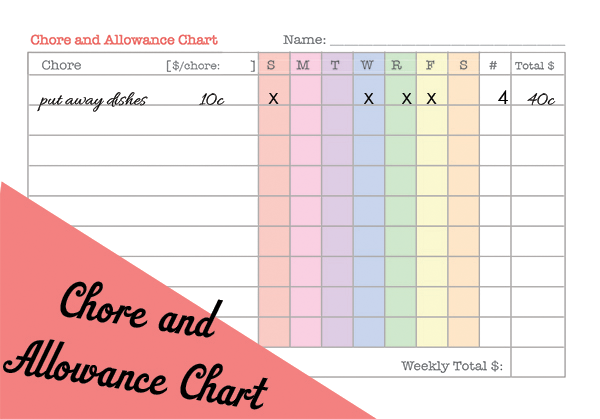 We wilsons 5 homeschool y printables for Allowance chart template