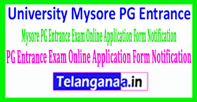 University-Mysore PG Entrance Exam Online Application Form Notification
