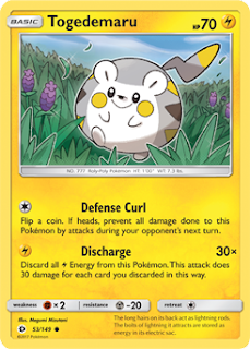 Togedemaru Sun and Moon Pokemon Card