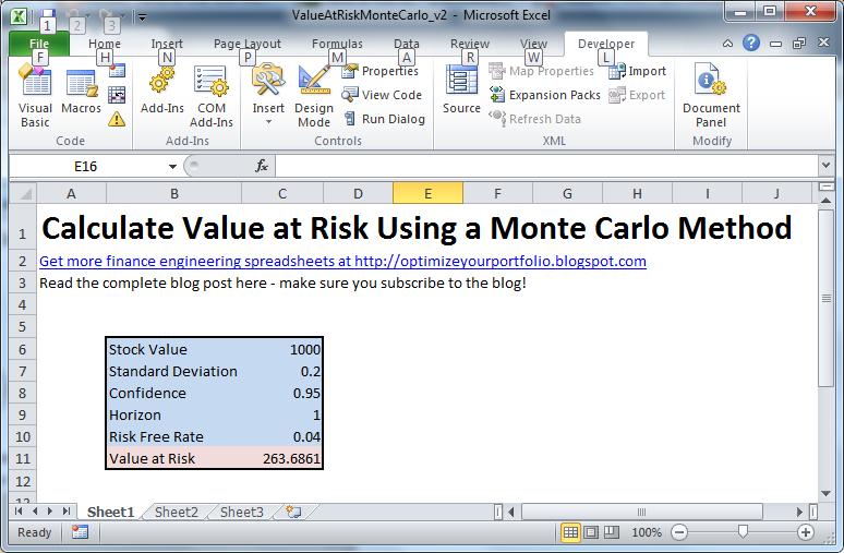 value at risk with monte carlo simulation. Black Bedroom Furniture Sets. Home Design Ideas