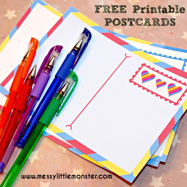 picture relating to Printable Post Cards named Cost-free printable postcards for young children - Messy Very little Monster