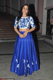 Regina Casandra in Stunning White Embroidery Crop Top Choli and Blue Ghagra at Santosham awards 2017 curtain raiser press meet 02.08.2017 008.JPG