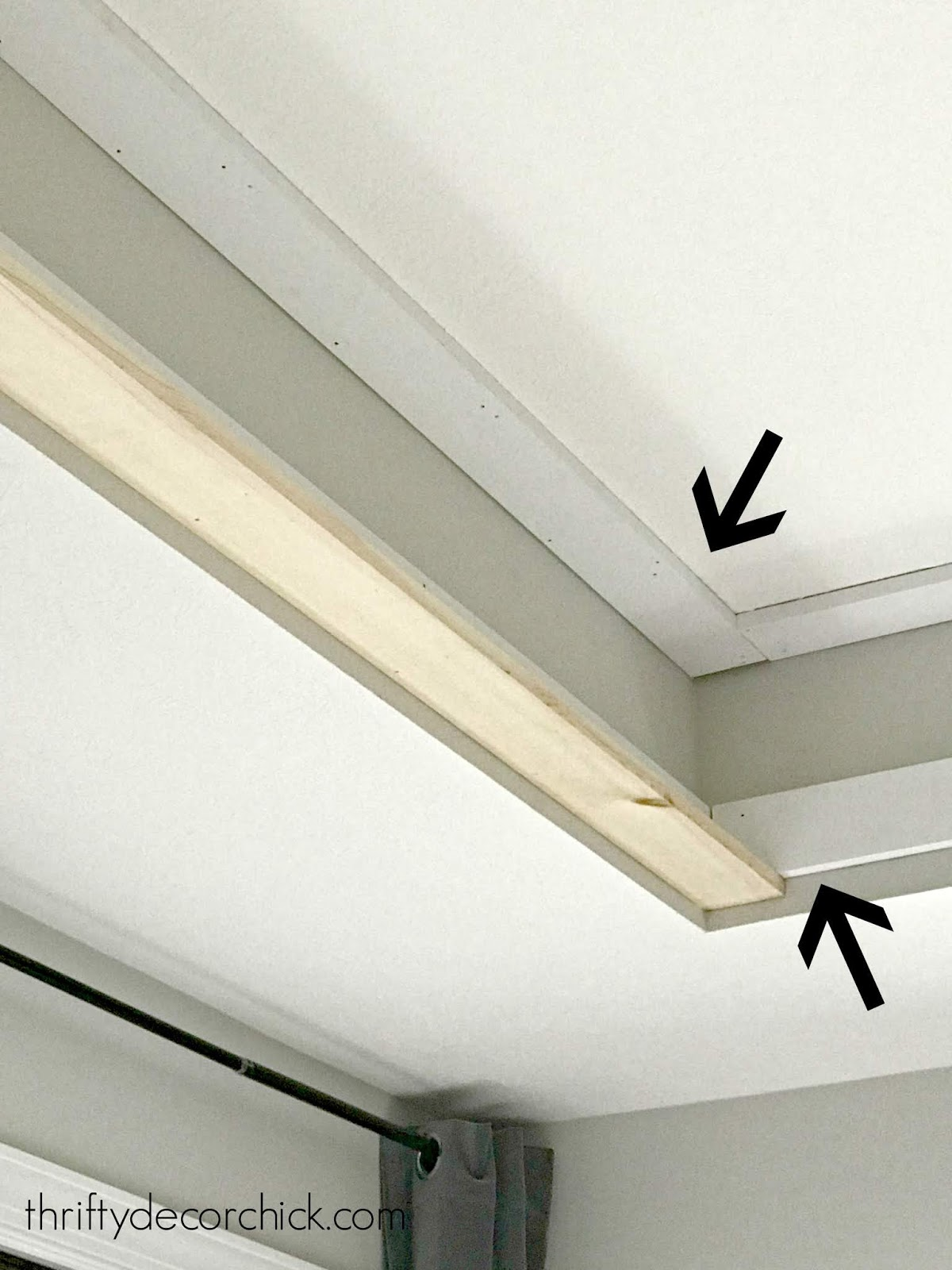 How to add fake wood beams to tray ceiling