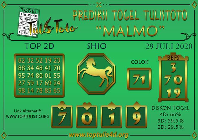 Prediksi Togel MALMO TULISTOTO 29 JULI 2020