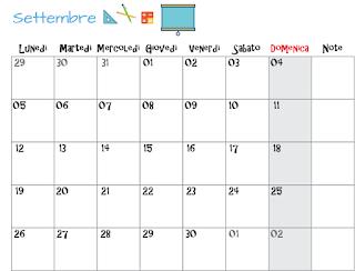 planner mensile orizzontale Settembre 2016