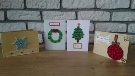 Kartki świąteczne wykonane metodą quillingu.